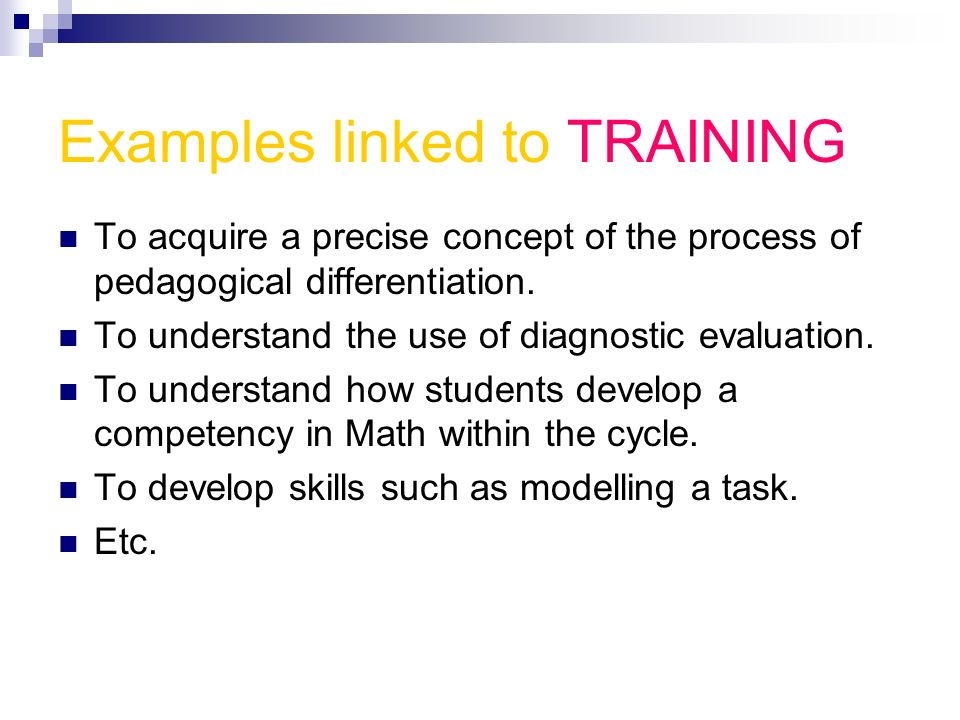 Examples linked to TRAINING