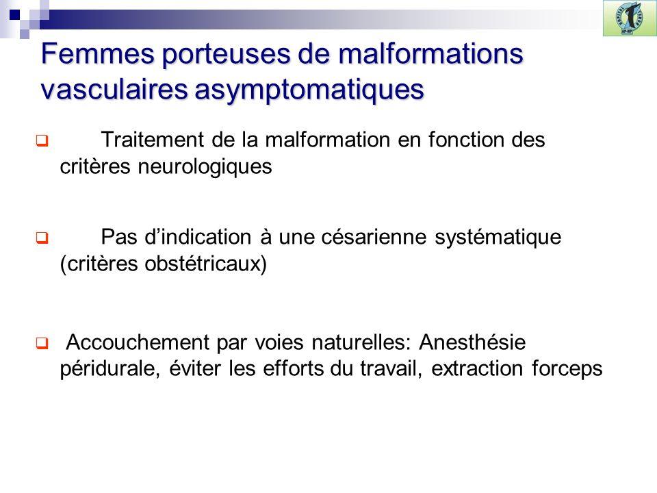 Femmes porteuses de malformations vasculaires asymptomatiques