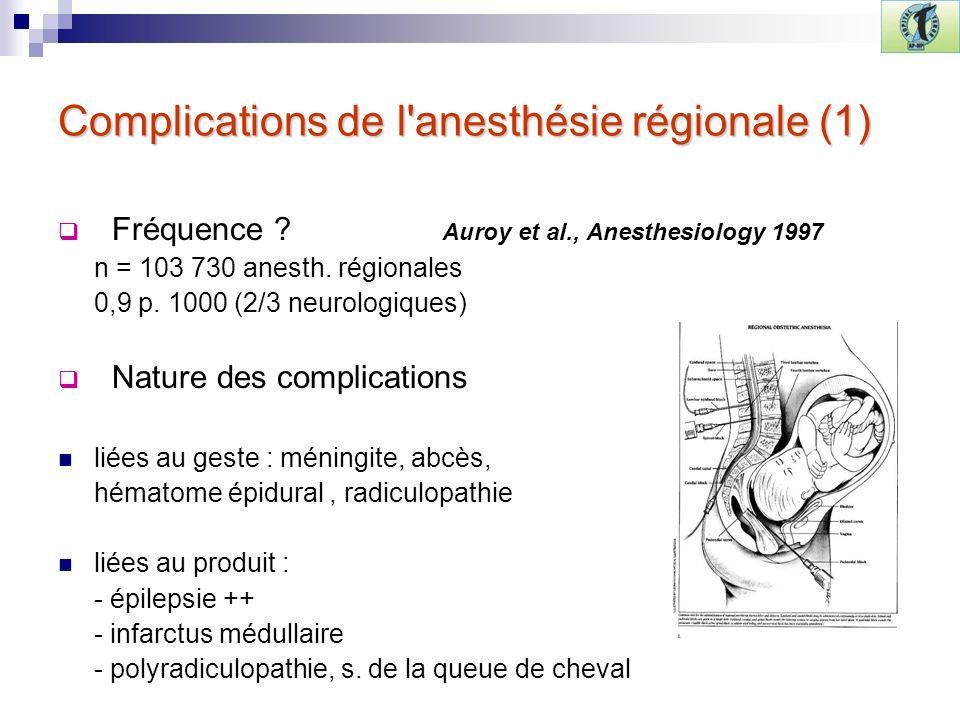Complications de l anesthésie régionale (1)