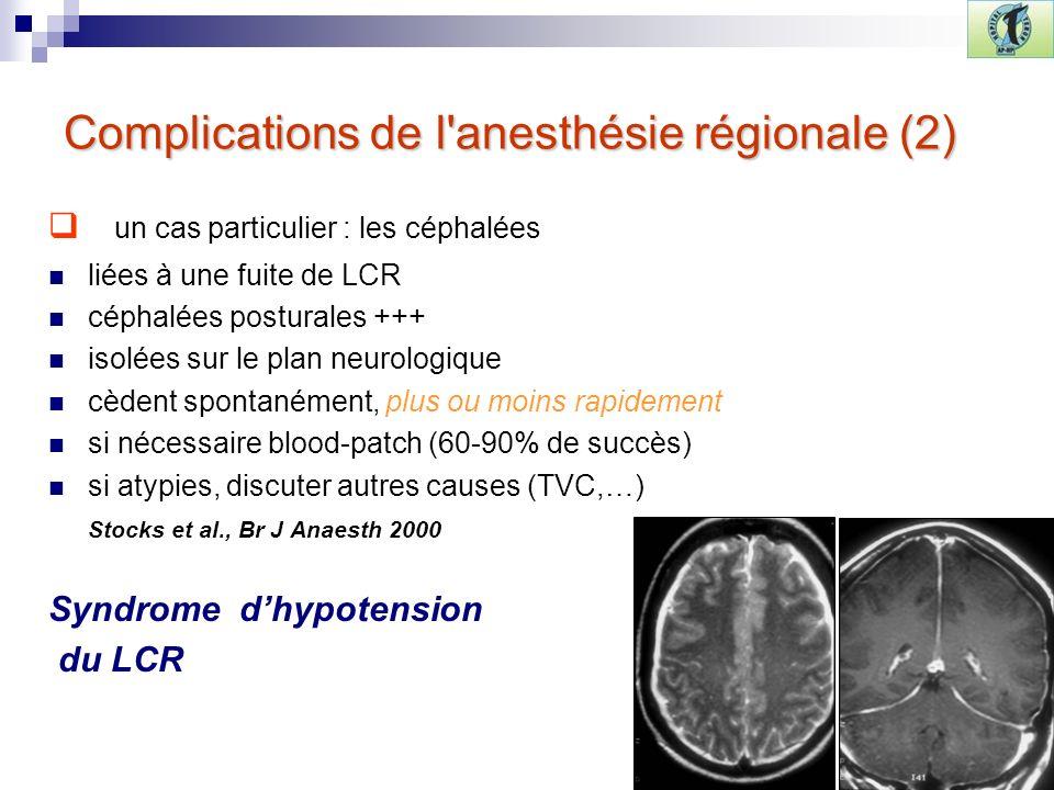 Complications de l anesthésie régionale (2)