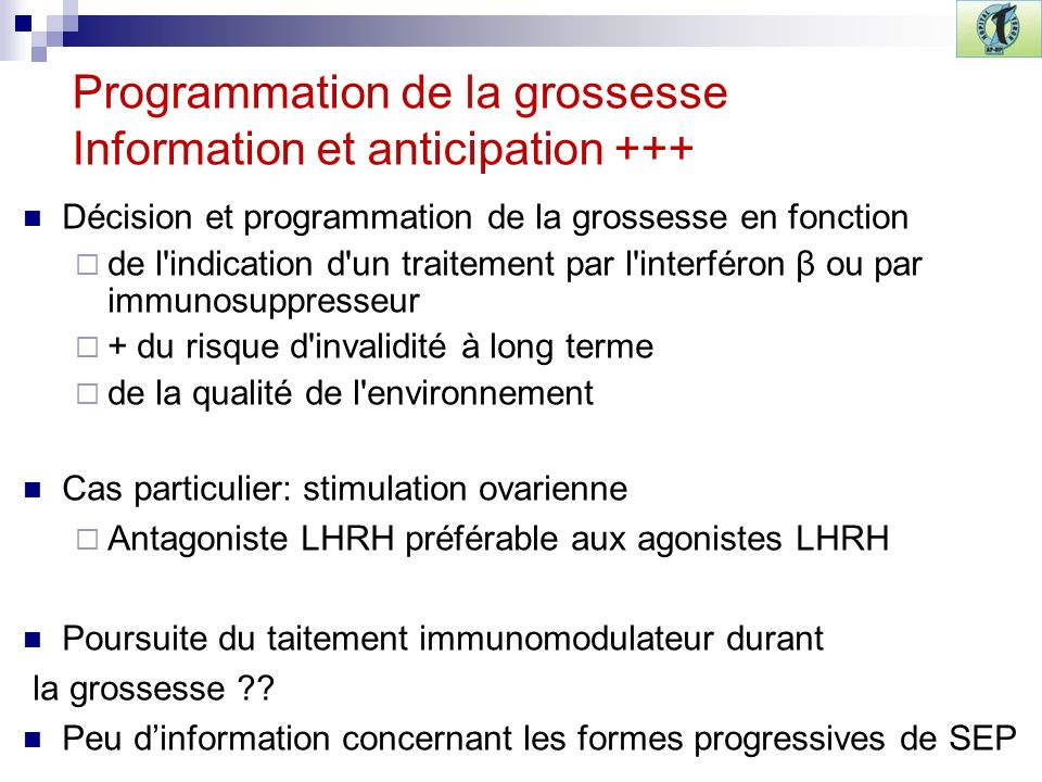 Programmation de la grossesse Information et anticipation +++