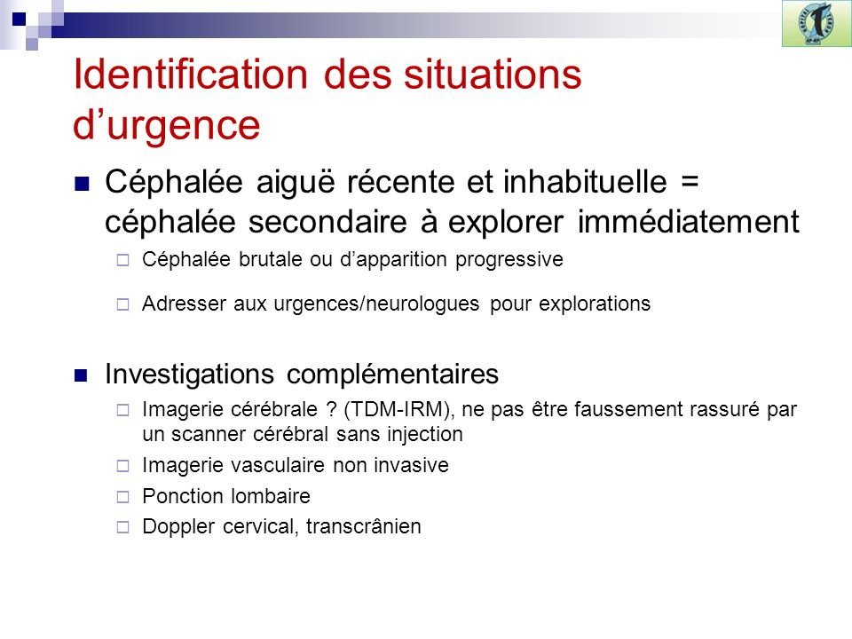 Identification des situations d'urgence