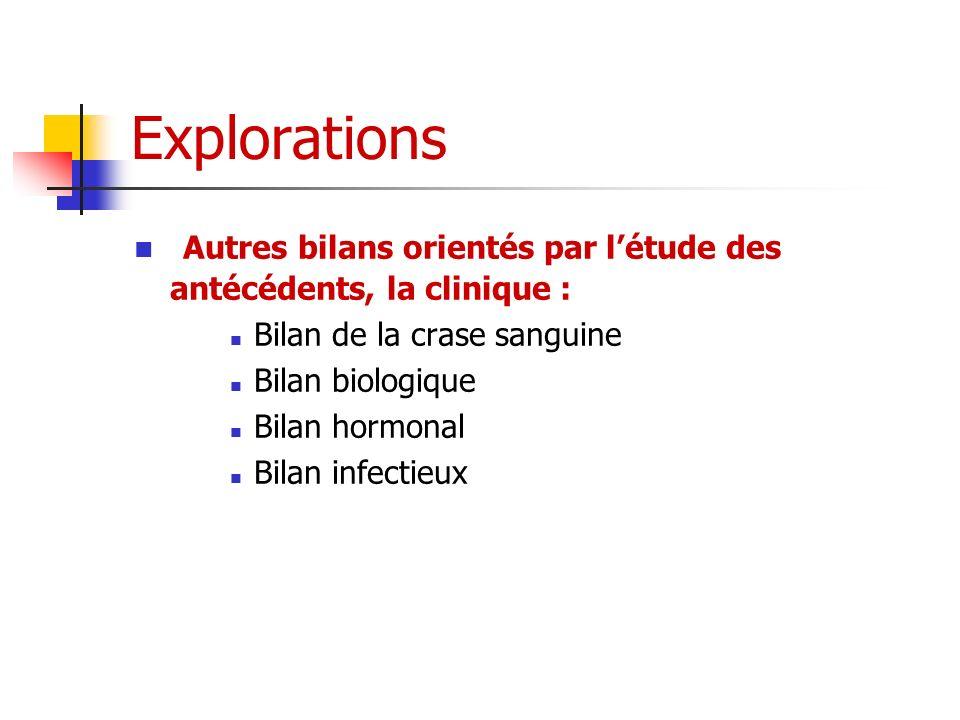 Explorations Autres bilans orientés par l'étude des antécédents, la clinique : Bilan de la crase sanguine.