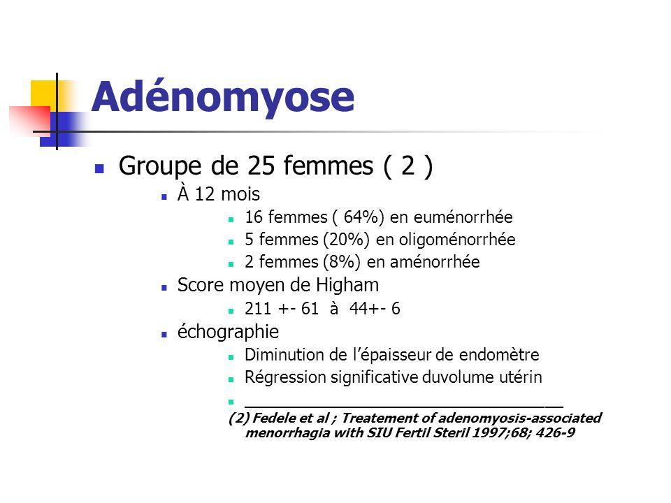 Adénomyose Groupe de 25 femmes ( 2 ) À 12 mois Score moyen de Higham