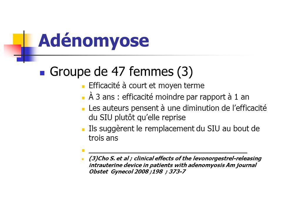 Adénomyose Groupe de 47 femmes (3) Efficacité à court et moyen terme