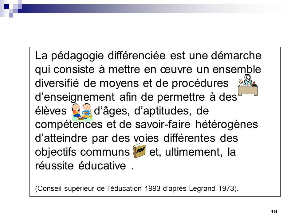 La pédagogie différenciée est une démarche