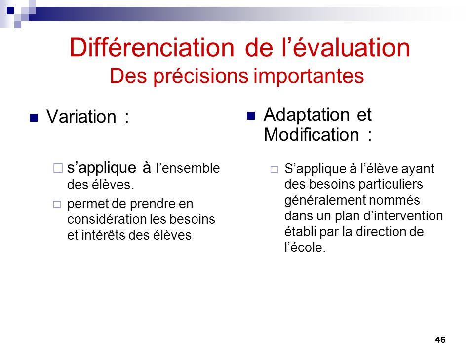 Différenciation de l'évaluation Des précisions importantes