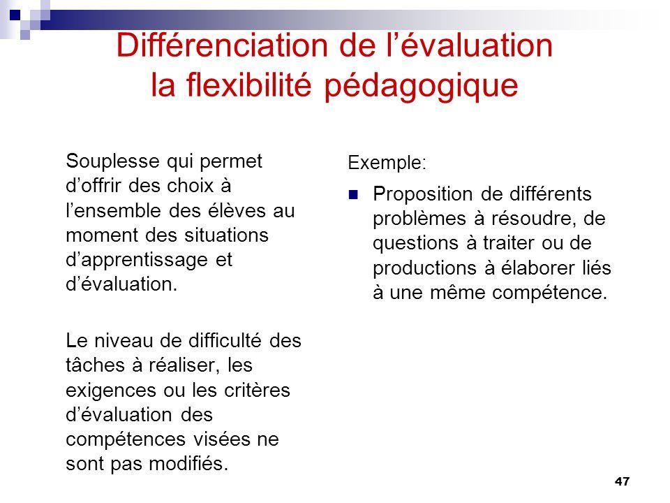 Différenciation de l'évaluation la flexibilité pédagogique