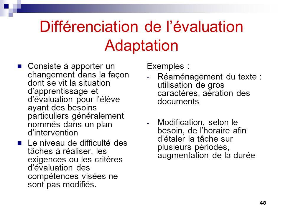 Différenciation de l'évaluation Adaptation