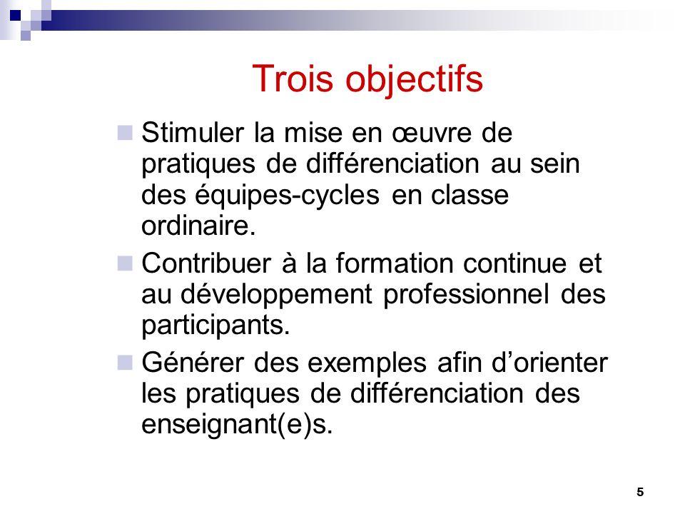 Trois objectifs Stimuler la mise en œuvre de pratiques de différenciation au sein des équipes-cycles en classe ordinaire.