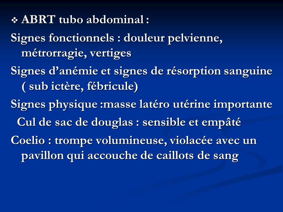 ABRT tubo abdominal : Signes fonctionnels : douleur pelvienne, métrorragie, vertiges.