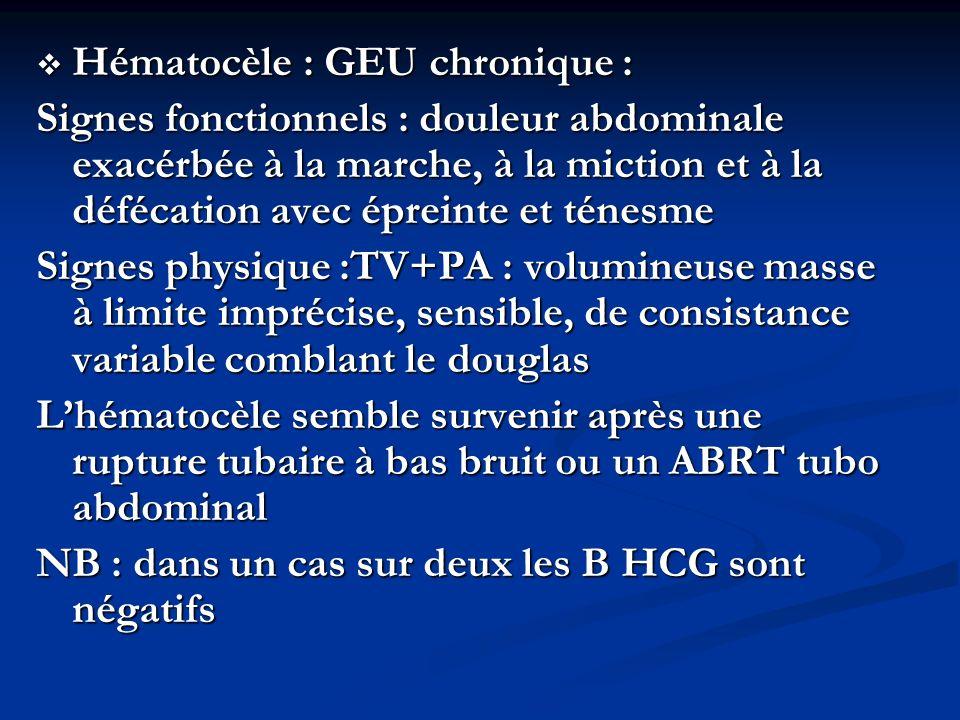 Hématocèle : GEU chronique :