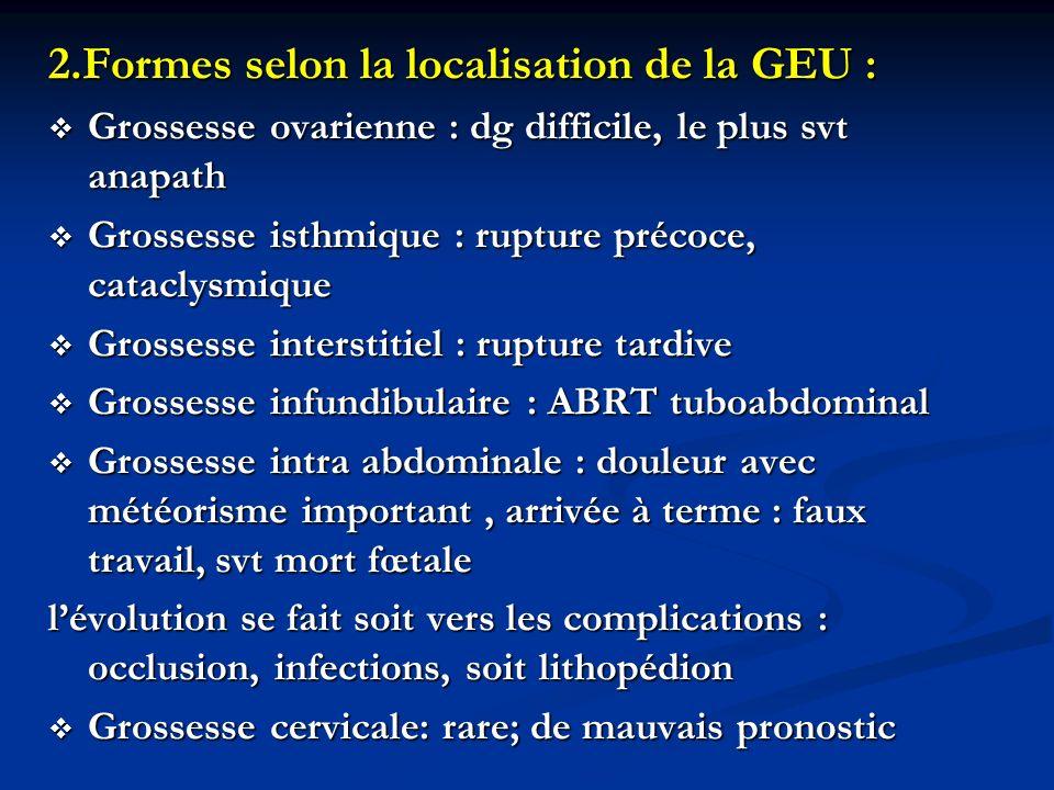 2.Formes selon la localisation de la GEU :