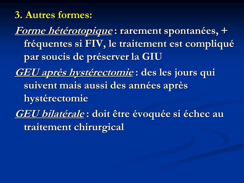 3. Autres formes:Forme hétérotopique : rarement spontanées, + fréquentes si FIV, le traitement est compliqué par soucis de préserver la GIU.