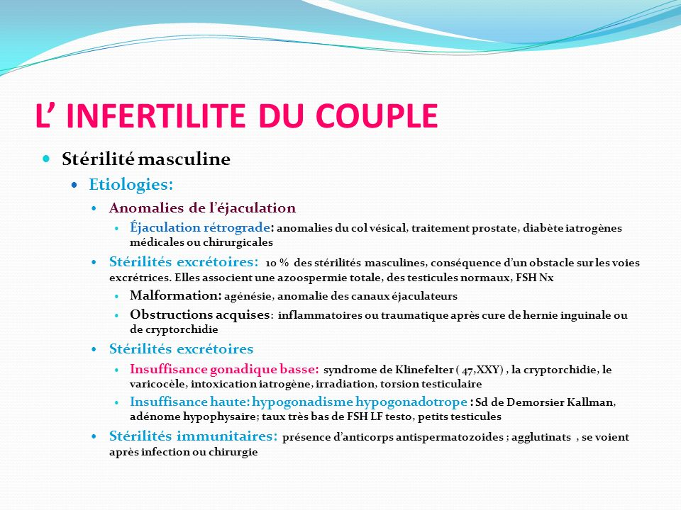 L' INFERTILITE DU COUPLE