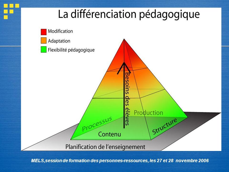 MELS,session de formation des personnes-ressources, les 27 et 28 novembre 2006