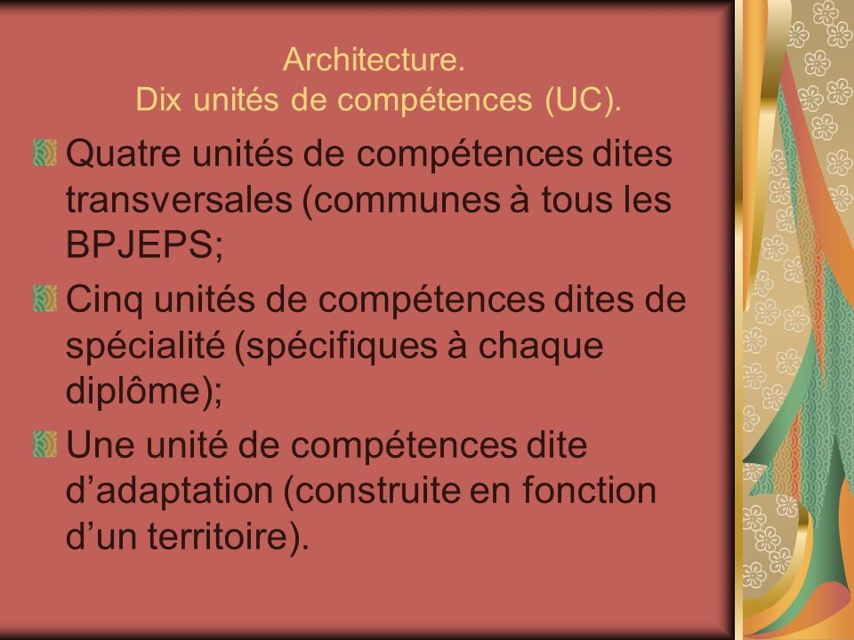 Architecture. Dix unités de compétences (UC).