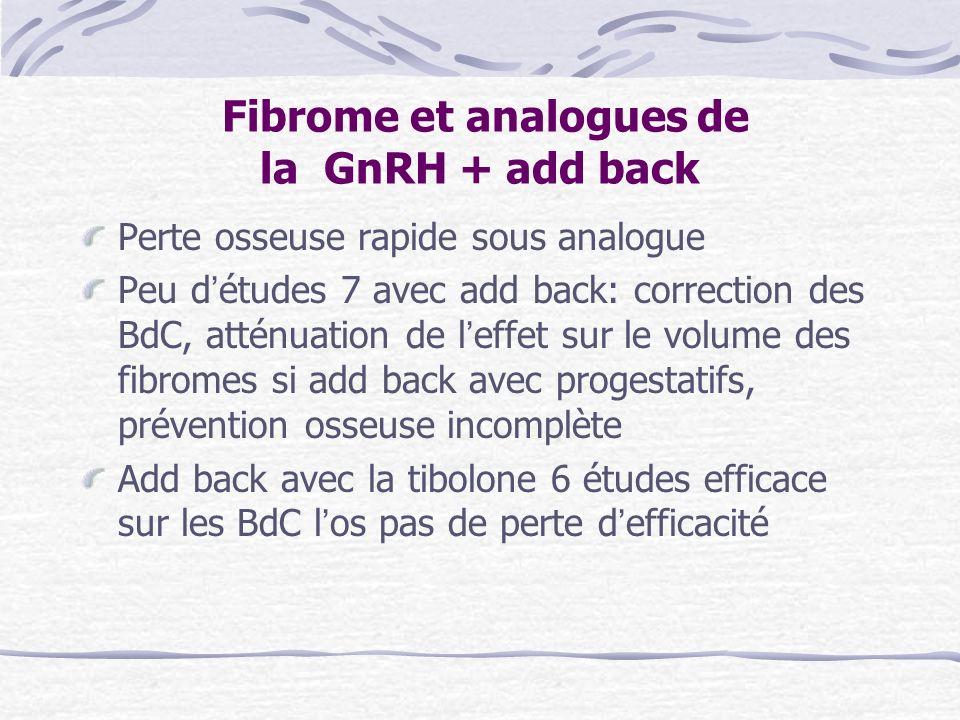 Fibrome et analogues de la GnRH + add back