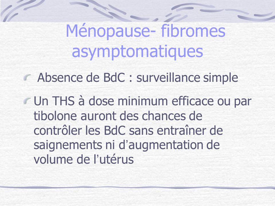 Ménopause- fibromes asymptomatiques