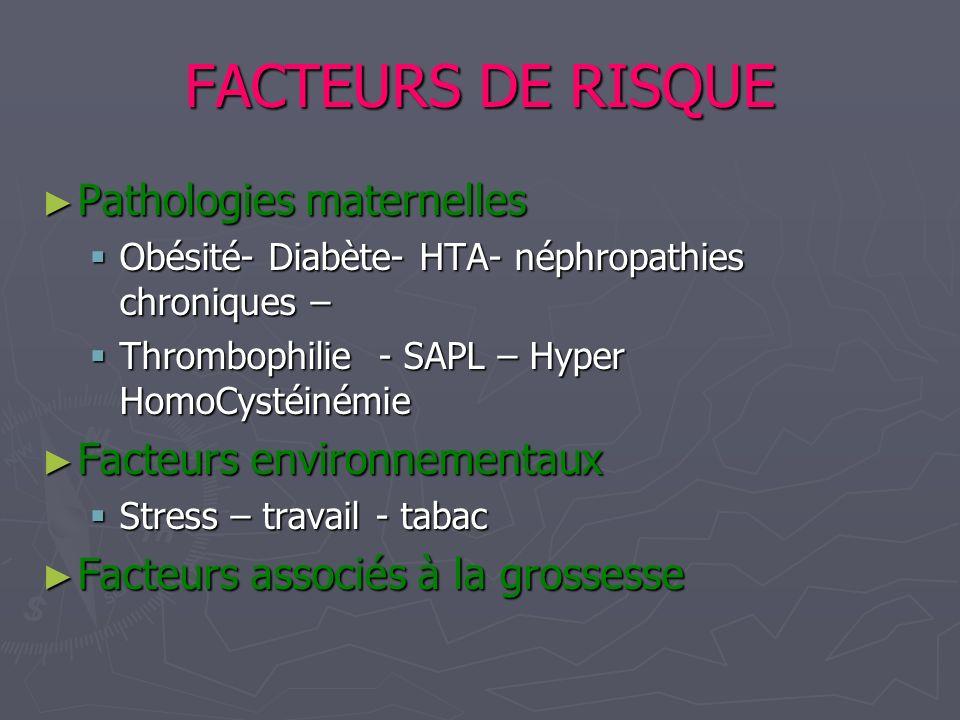 FACTEURS DE RISQUE Pathologies maternelles Facteurs environnementaux