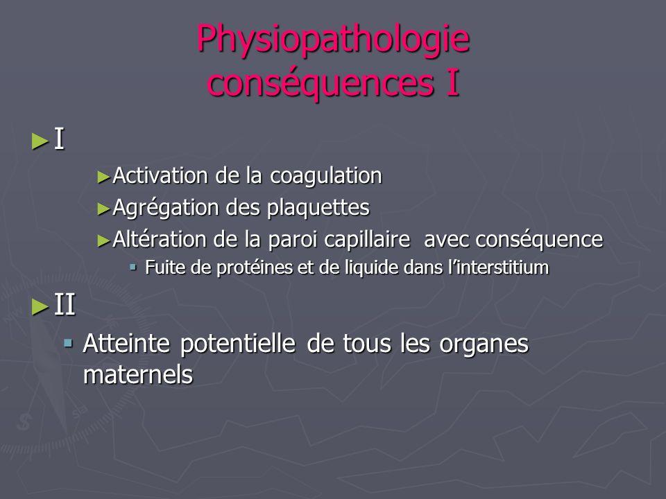 Physiopathologie conséquences I