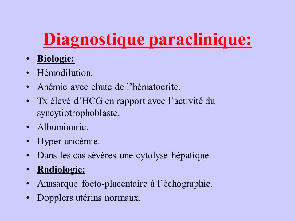 Diagnostique paraclinique: