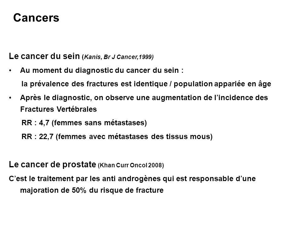 Le cancer du sein (Kanis, Br J Cancer,1999)