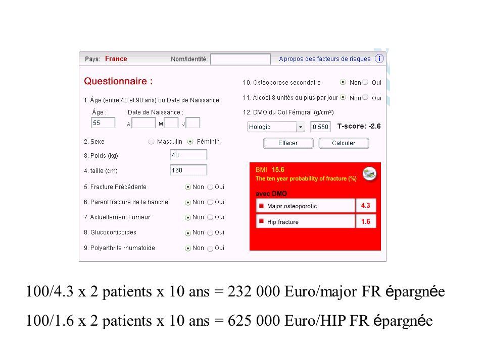 100/4.3 x 2 patients x 10 ans = Euro/major FR épargnée