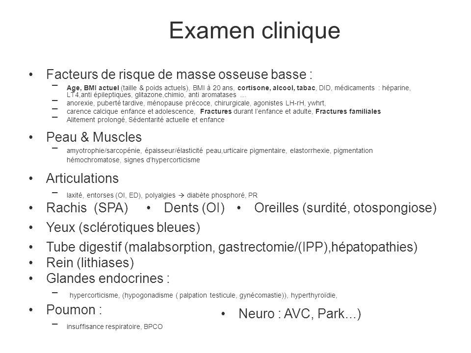 Examen clinique Facteurs de risque de masse osseuse basse :
