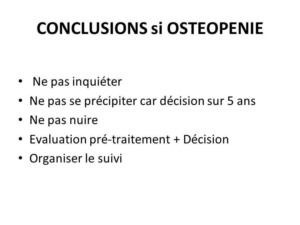 CONCLUSIONS si OSTEOPENIE