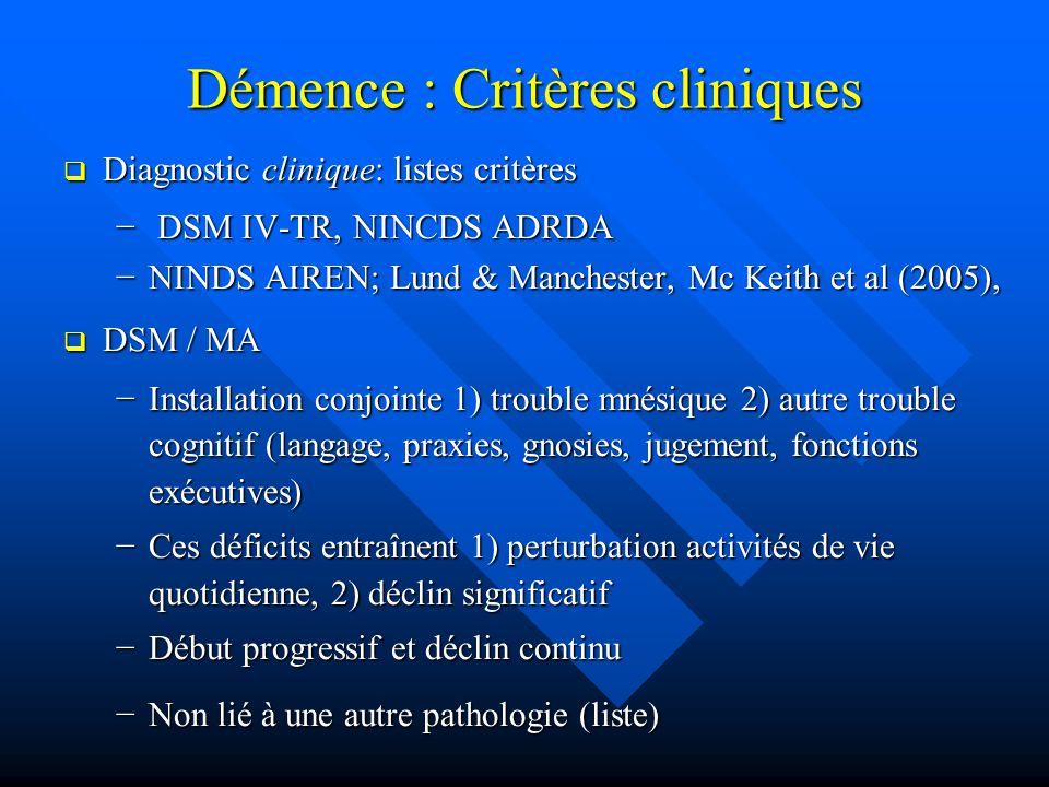 Démence : Critères cliniques