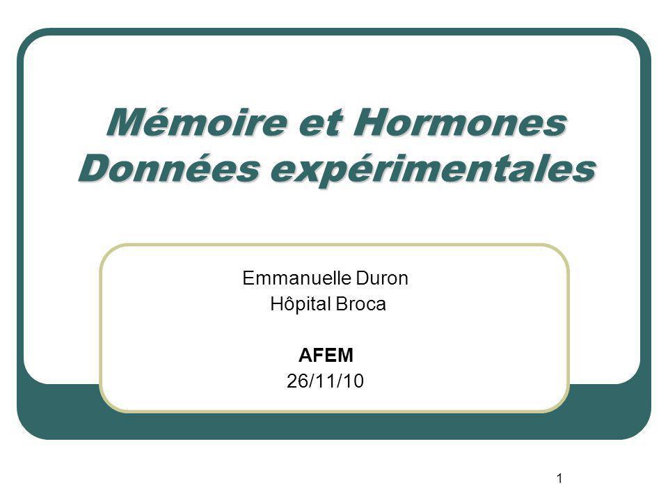 Mémoire et Hormones Données expérimentales