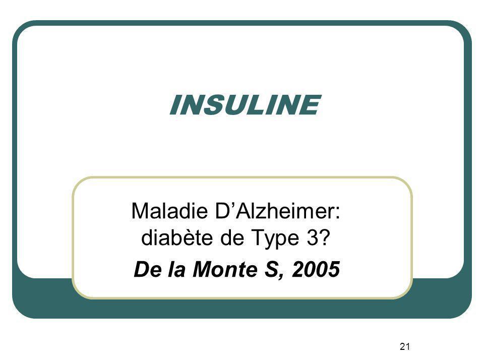 Maladie D'Alzheimer: diabète de Type 3 De la Monte S, 2005