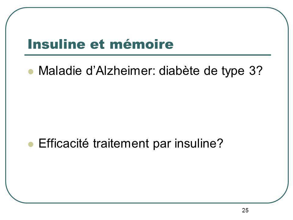 Insuline et mémoire Maladie d'Alzheimer: diabète de type 3