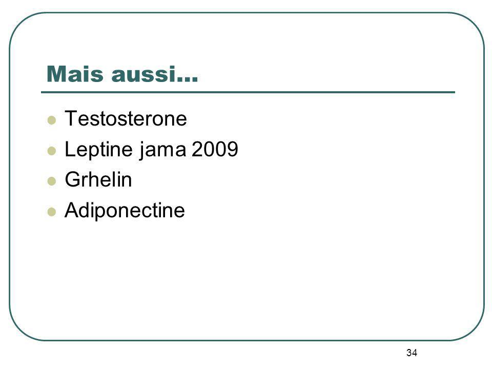 Mais aussi… Testosterone Leptine jama 2009 Grhelin Adiponectine