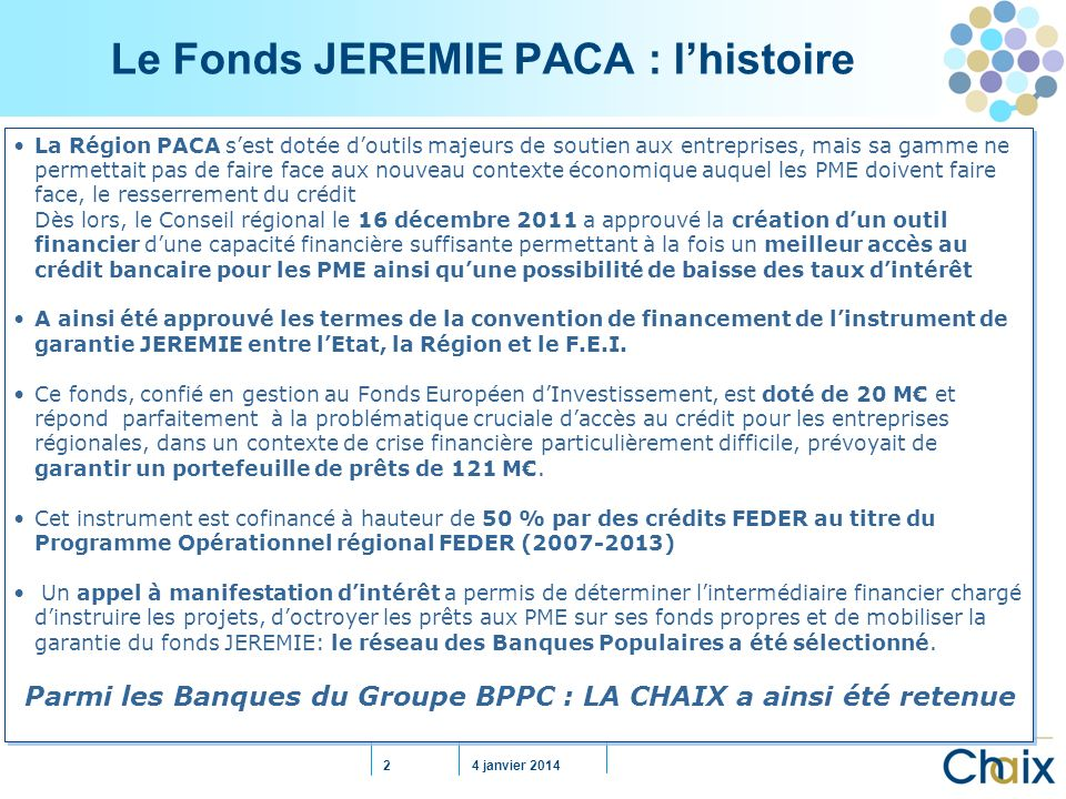 Le Fonds JEREMIE PACA : l'histoire