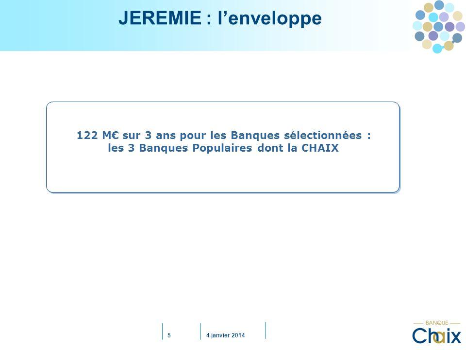 JEREMIE : l'enveloppe 122 M€ sur 3 ans pour les Banques sélectionnées : les 3 Banques Populaires dont la CHAIX.