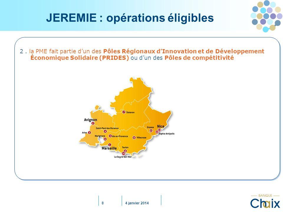 JEREMIE : opérations éligibles