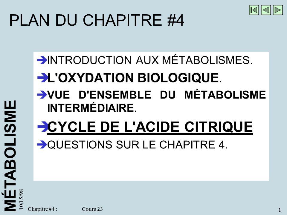 PLAN DU CHAPITRE #4 CYCLE DE L ACIDE CITRIQUE L OXYDATION BIOLOGIQUE.
