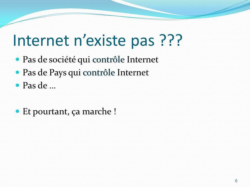 Internet n'existe pas Pas de société qui contrôle Internet