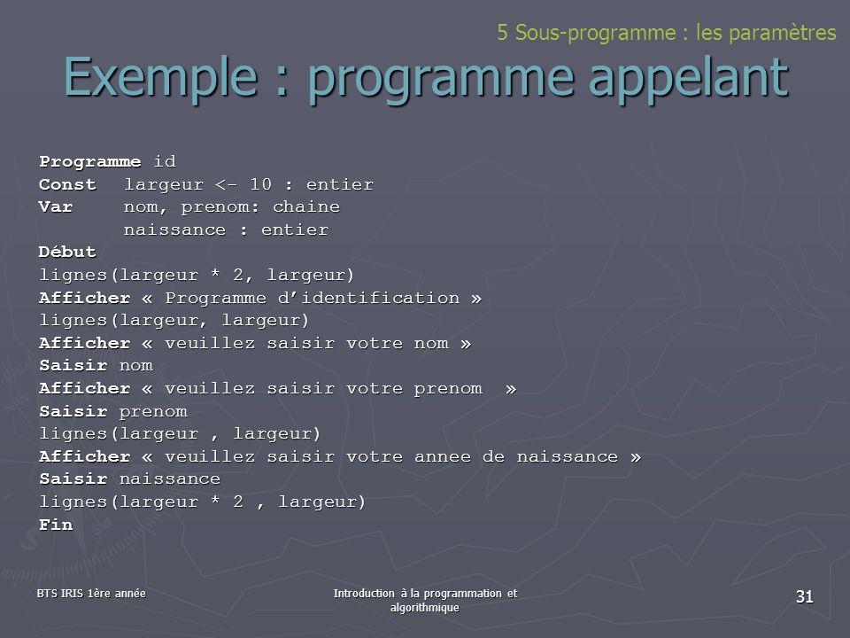 Exemple : programme appelant