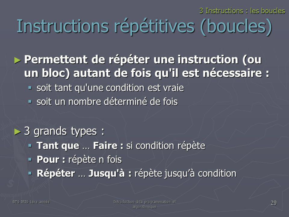 Instructions répétitives (boucles)
