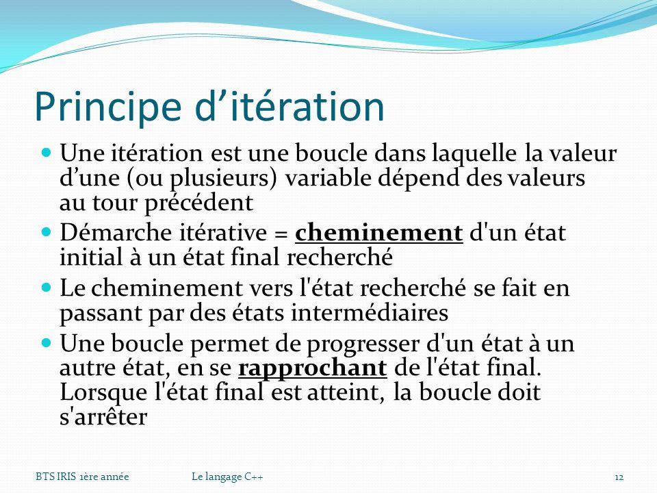 Principe d'itération Une itération est une boucle dans laquelle la valeur d'une (ou plusieurs) variable dépend des valeurs au tour précédent.