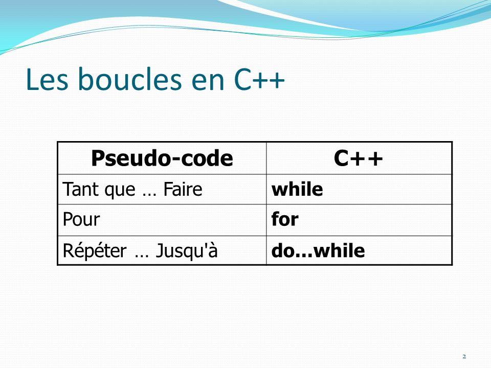Les boucles en C++ Pseudo-code C++ Tant que … Faire while Pour for