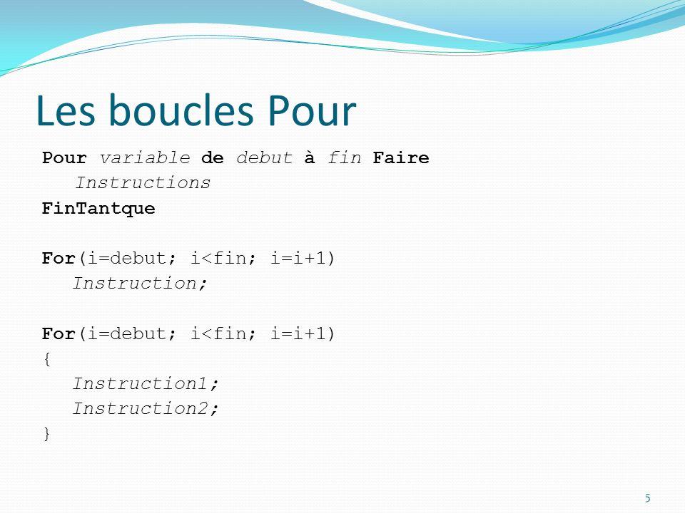 Les boucles Pour Pour variable de debut à fin Faire Instructions FinTantque For(i=debut; i<fin; i=i+1) Instruction; { Instruction1; Instruction2; }