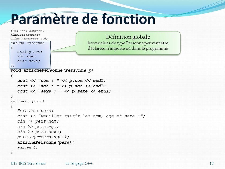 Paramètre de fonction Définition globale