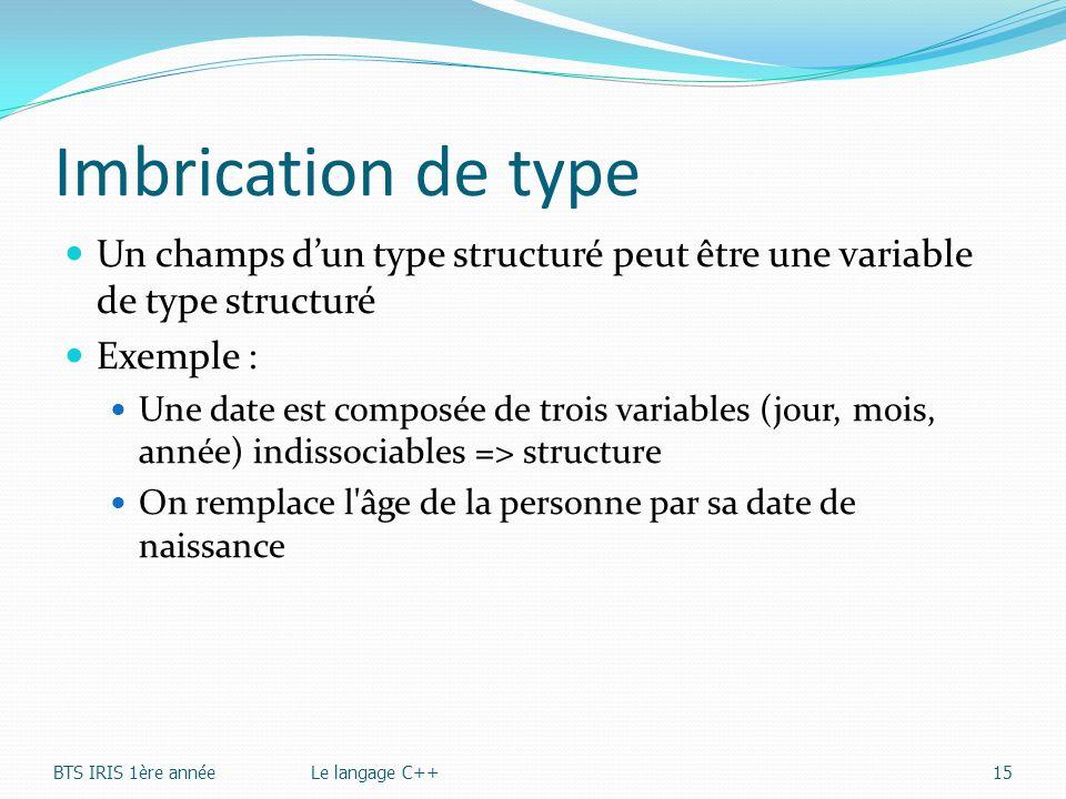 Imbrication de type Un champs d'un type structuré peut être une variable de type structuré. Exemple :