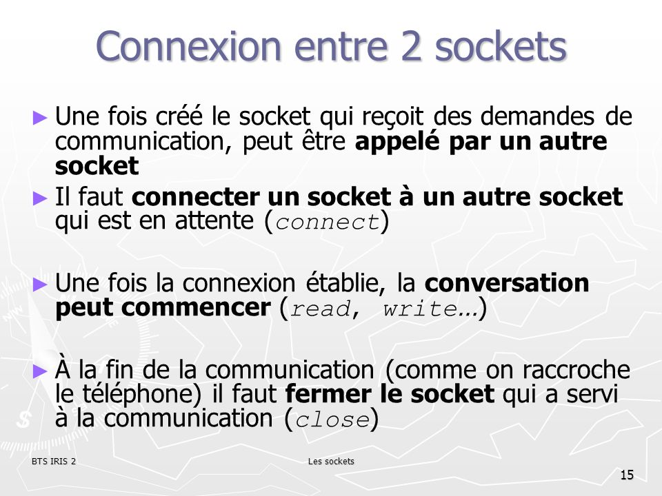 Connexion entre 2 sockets