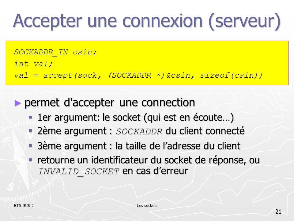 Accepter une connexion (serveur)