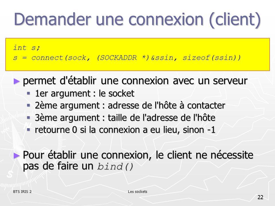Demander une connexion (client)